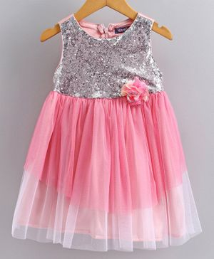 Nauti Nati Sleeveless Sequin Embellished Flared Dress - Pink