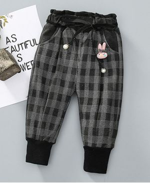 Pre Order - Awabox Checked Bunny Embellished Full Length Pants - Black
