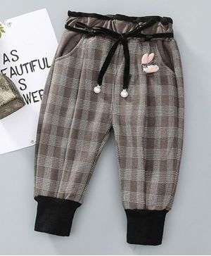 Pre Order - Awabox Checked Bunny Embellished Full Length Pants - Brown