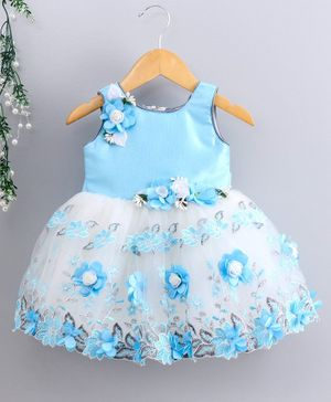 Bluebell  Party Wear Sleeveless Frock Floral Appliques - Blue White