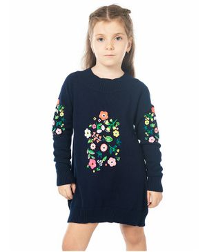 Cherry Crumble California Floral Embroidery Full Sleeves Dress - Navy Blue