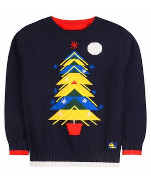 Cherry Crumble California Christmas Tree  Print Full Sleeves Sweater- Navy Blue