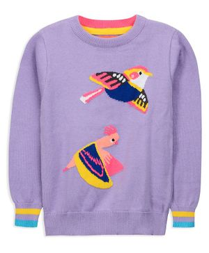 Cherry Crumble California Birds Embroidery Full Sleeves Sweater - Purple