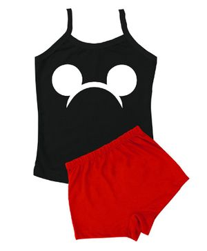 Plan B Sleeveless Mouse Print Camisole With Shorts - Black & Red