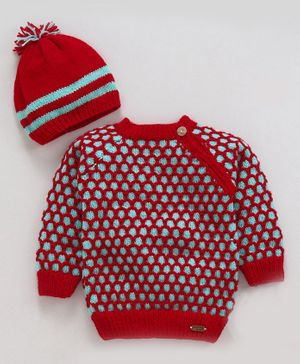Knitting by Love Mesh Style Full Sleeves Sweater & Cap Set - Red