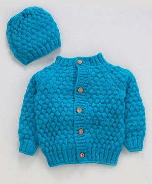 Knitting by Love Solid Full Sleeves Sweater & Cap Set - Light Blue