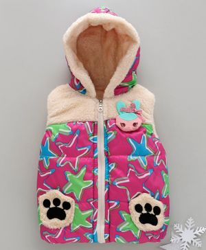 Zonko Style Star Printed Sleeveless Paw Patch Detailed Hooded Jacket - Pink
