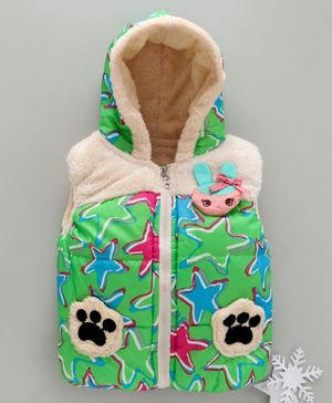 Zonko Style Star Printed Sleeveless Paw Patch Detailed Hooded Jacket - Green
