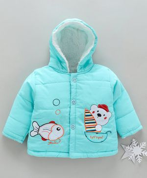 Zonko Style Fish & Teddy Bear Patch Detailed Full Sleeves Hooded Jacket - Sky Blue