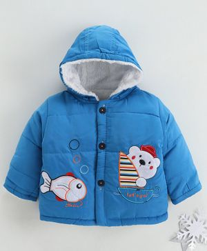 Zonko Style Fish & Teddy Bear Patch Detailed Full Sleeves Hooded Jacket - Blue