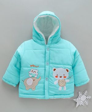Zonko Style Elephant & Teddy Bear Patch Detailed Full Sleeves Hooded Jacket - Sky Blue