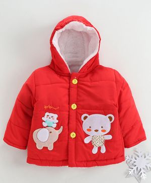 Zonko Style Elephant & Teddy Bear Patch Detailed Full Sleeves Hooded Jacket - Red
