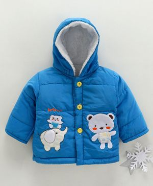 Zonko Style Elephant & Teddy Bear Patch Detailed Full Sleeves Hooded Jacket - Blue