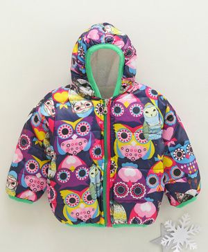 Zonko Style All Over Owl Printed Full Sleeves Hooded Jacket - Multi Color