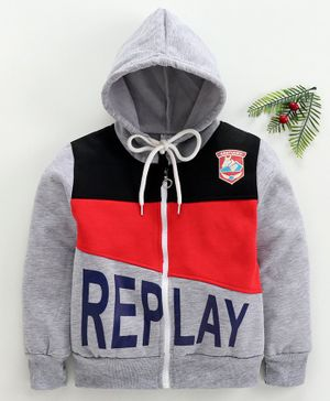 Zonko Style Replay Printed Full Sleeves Hooded Jacket - Grey