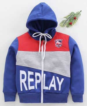 Zonko Style Replay Printed Full Sleeves Hooded Jacket - Blue