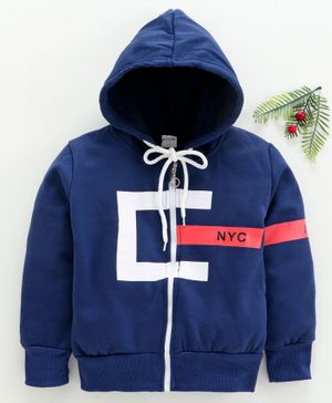 Zonko Style Nyc Printed Full Sleeves Hooded Jacket - Blue