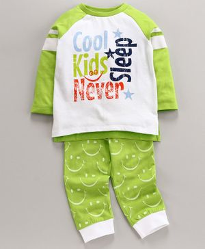 Ventra Cool Kids Never Sleep Printed Full Sleeves Night Suit - White & Green