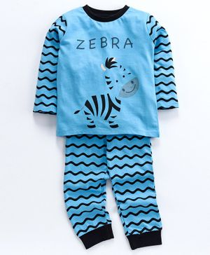 Ventra Zebra Printed Full Sleeves Night Suit - Blue