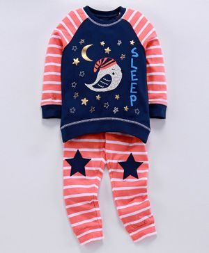 Ventra Stars Printed Full Sleeves Night Suit - Blue