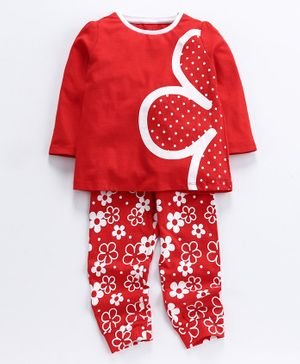 Ventra Girls Flower Printed Full Sleeves Night Suit - Red