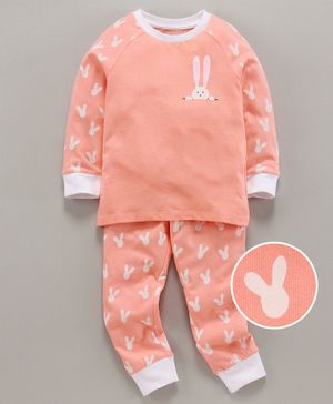 Ventra Girls Rabbit Printed Full Sleeves Night Suit - Peach