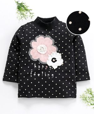 Ventra Dots Print & Flower Detailed Full Sleeves Top - Black