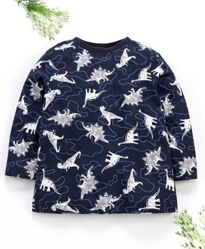 Ventra Dino Print Full Sleeves Tee - Blue