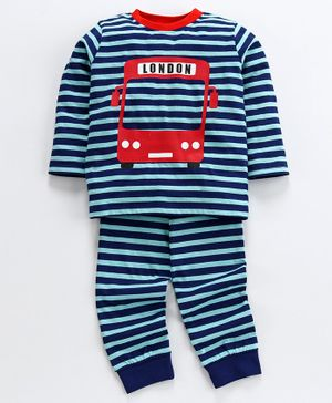 Ventra London Bus Print Full Sleeves Night Suit - Navy Blue