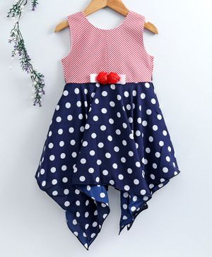 Enfance Core Sleeveless Polka Dot Printed Asymmetrical Dress - Navy Blue