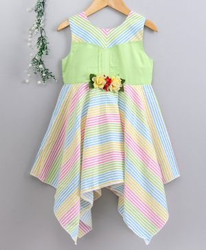 Enfance Core Striped Flower Decorated Sleeveless Dress - Green