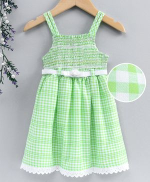 Enfance Core Checkered Sleeveless Dress - Green