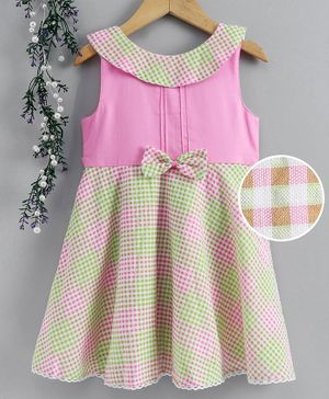 Enfance Core Checkered Sleeveless Dress - Pink