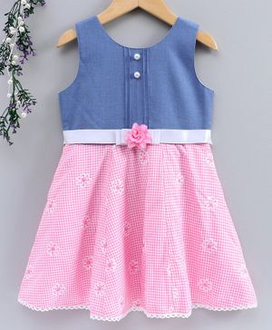 Enfance Core Flower Embroidered Sleeveless Dress - Pink
