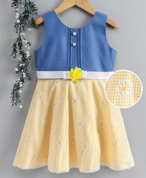 Enfance Core Flower Embroidered Sleeveless Dress - Yellow