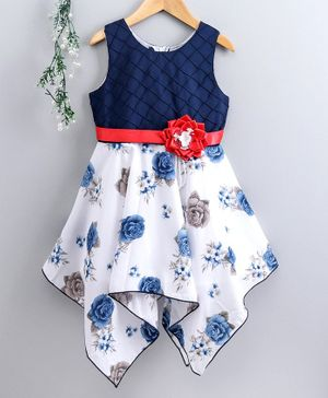 Enfance Core Rose Print Sleeveless Dress - Navy Blue