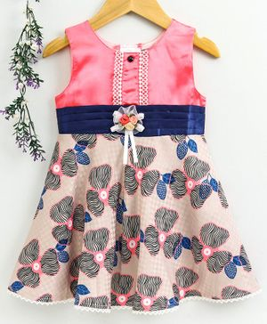 Enfance Core Sleeveless Flower Printed Flared Dress - Pink