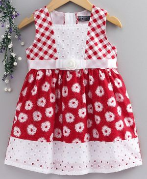 Enfance Core Sleeveless Flower Printed Flared Dress - Red