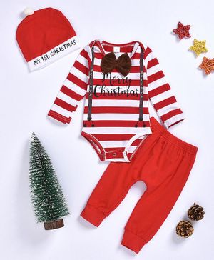 Pre Order - Awabox Merry Christmas Printed Full Sleeves Onesie With Attached Bow Tie & Bottoms With Cap - Red