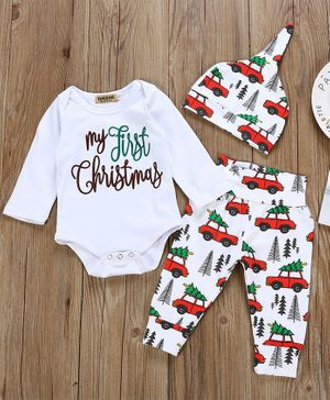 Pre Order - Awabox My First Christmas Printed Full Sleeves Onesie With Car Carrying Christmas Tree Printed Bottoms & Cap - White