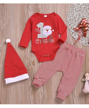 Pre Order - Awabox Santa Claus Patch Detailed Full Sleeves Onesie With Stripe Bottoms & Cap - Red
