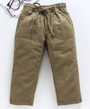 Doreme Full Length Trouser With Drawstring - Olive Green