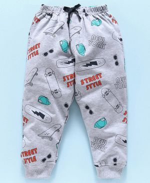 Doreme Full Length Fleece Bottom Street Style Print - Grey