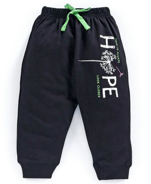 Doreme Full Length Fleece Bottom Text Print - Black