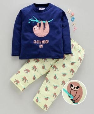 Nite Flite Sloth Mode Print Full Sleeves Night Suit - Navy Blue & White