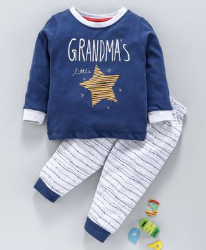 First Smile Full Sleeves Tee & Lounge Pant Star Print - Blue