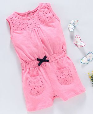 Babyhug Sleeveless Jumpsuit Schiffli Design - Pink