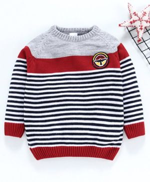 Babyhug Full Sleeves Striped Sweater Explore Patch - Red