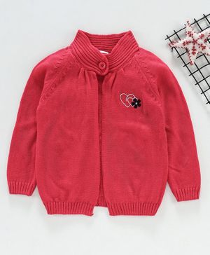 Babyhug Full Sleeves Sweater Heart Design - Coral