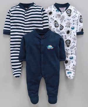 BUMZEE Pack Of 3 Cartoon Print Full Sleeves Sleep Suit - Navy Blue